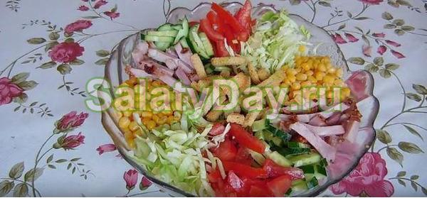 Салат «Огород» с ветчиной