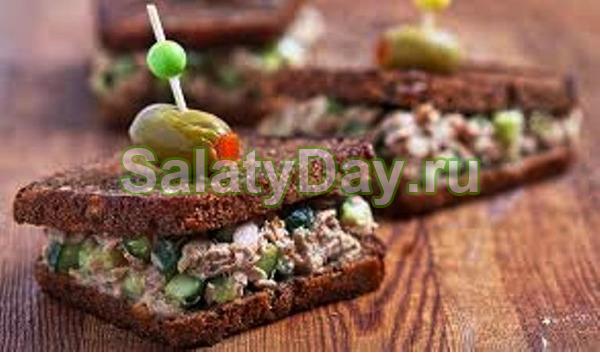 Салат-закуска тунец с огурцом