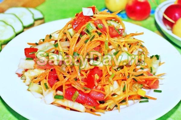 Салат с корейской морковью, помидором и фасолью