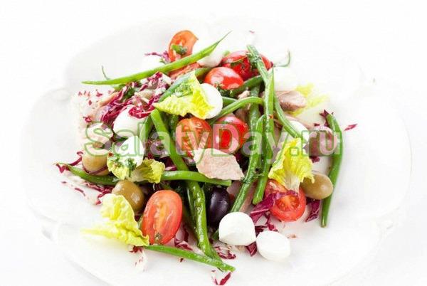 Закусочный салат со стручковой фасолью