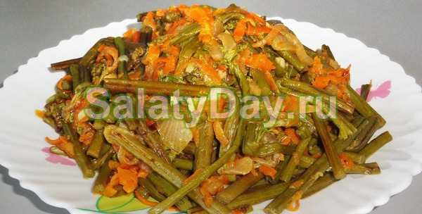 Острый салат из свежего папоротника