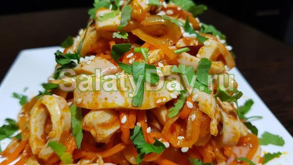 Кальмары по-корейски с морковкой
