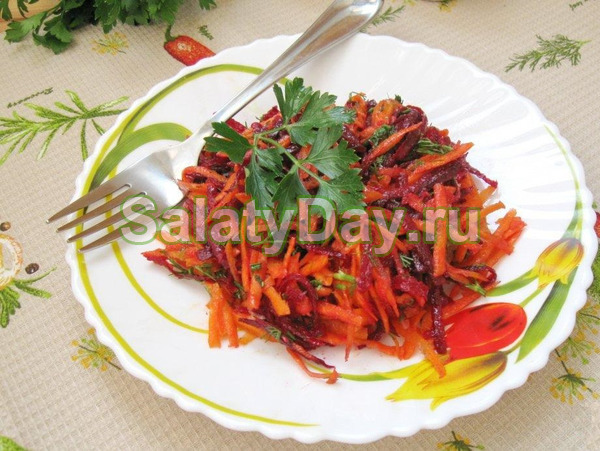 Салат из свеклы без майонеза - Свекольно-морковный микс