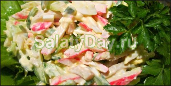 Салат из кальмаров, огурца и крабовых палочек