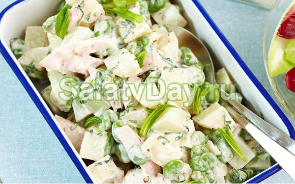 Салат с зеленой фасолью, картофелем и копченой курицей