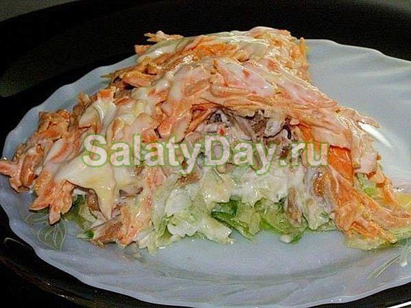 Салат «Мужской каприз» с курицей, морковью и редькой
