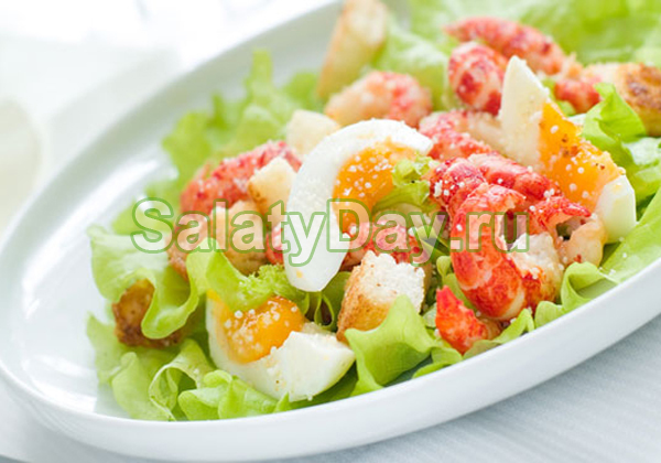 Салат из раковых шеек и яиц